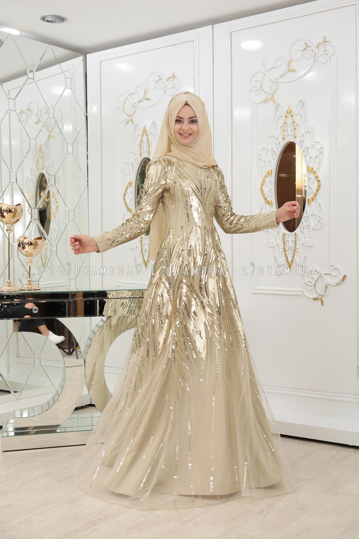 13f4ece75ea7a Pınar Şems - Yosun Abiye - 685,00 TL - Lidya Moda Tesettür Giyim