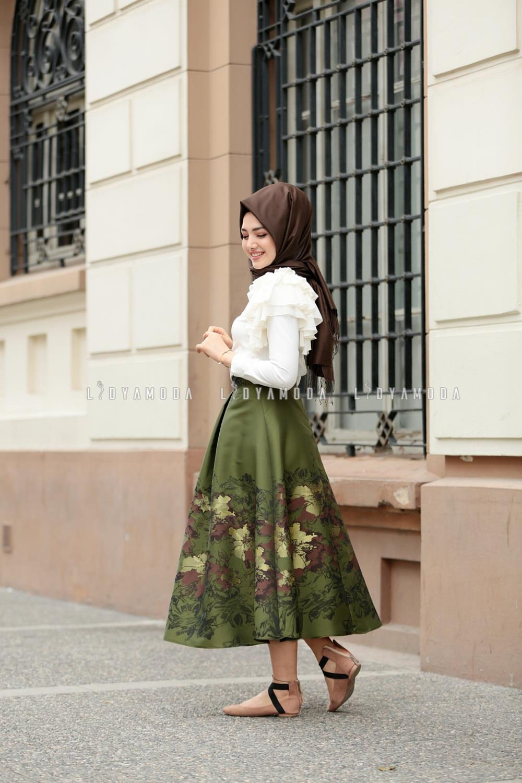 3f2b18ef9c8af Gamze Özkul - Desenli Yüksek Bel ETek - 260,00 TL - Lidya Moda Tesettür  Giyim